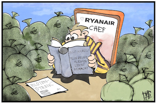 Cartoon: Ryanair (medium) by Kostas Koufogiorgos tagged karikatur,koufogiorgos,illustration,cartoon,ryanair,piloten,streik,airline,gewerkschaft,geld,arbeit,arbeitsbedingungen,karikatur,koufogiorgos,illustration,cartoon,ryanair,piloten,streik,airline,gewerkschaft,geld,arbeit,arbeitsbedingungen