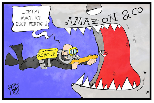 Cartoon: Scholz greift an (medium) by Kostas Koufogiorgos tagged amazon,scholz,konzern,firma,finanzen,karikatur,koufogiorgos,amazon,scholz,konzern,firma,finanzen,karikatur,koufogiorgos