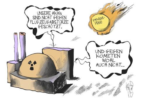 Cartoon: Stresstest (medium) by Kostas Koufogiorgos tagged akw,atomkraft,flugzeugabsturz,komet,endlager,frage,stresstest,nuklearenergie