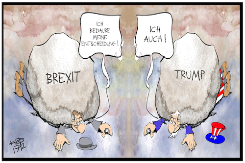 Cartoon: Trump und Brexit (medium) by Kostas Koufogiorgos tagged karikatur,koufogiorgos,illustration,cartoon,usa,uk,grossbritannien,brexit,trump,last,bedauern,bregret,entscheidung,wahl,stein,demokratie,karikatur,koufogiorgos,illustration,cartoon,usa,uk,grossbritannien,brexit,trump,last,bedauern,bregret,entscheidung,wahl,stein,demokratie