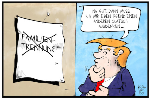 Cartoon: US-Asylpolitik (medium) by Kostas Koufogiorgos tagged karikatur,koufogiorgos,illustration,cartoon,trump,usa,asylpolitik,familien,trennung,kinder,dekret,rückzug,rücknahme,karikatur,koufogiorgos,illustration,cartoon,trump,usa,asylpolitik,familien,trennung,kinder,dekret,rückzug,rücknahme