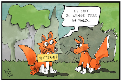 Cartoon: Waldtiere (medium) by Kostas Koufogiorgos tagged karikatur,koufogiorgos,illustration,cartoon,wald,tier,fuchs,wwf,studie,fauna,karikatur,koufogiorgos,illustration,cartoon,wald,tier,fuchs,wwf,studie,fauna