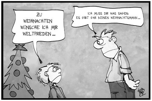 Cartoon: Weltfrieden (medium) by Kostas Koufogiorgos tagged wünsche,an,den,weihnachtsmann,wünsche,an,den,weihnachtsmann