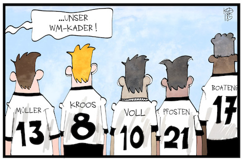 Cartoon: WM-Kader (medium) by Kostas Koufogiorgos tagged karikatur,koufogiorgos,illustration,cartoon,wm,kader,fussball,özil,gündogan,weltmeisterschaft,fifa,sport,spieler,sportler,mannschaft,karikatur,koufogiorgos,illustration,cartoon,wm,kader,fussball,özil,gündogan,weltmeisterschaft,fifa,sport,spieler,sportler,mannschaft