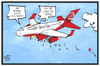 Cartoon: Air Berlin (small) by Kostas Koufogiorgos tagged karikatur,koufogiorgos,illustration,cartoon,air,berlin,entlassung,mitarbeiter,schrumpfkur,flugzeug,wirtschaft,sparmassnahmen
