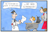 Cartoon: Bayerische Tests (small) by Kostas Koufogiorgos tagged karikatur,koufogiorgos,illustration,cartoon,bayern,test,schwangerschaft,mutter,kind,verspätung,corona,panne,testergebnis
