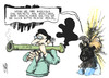 Cartoon: Draghis Bazooka (small) by Kostas Koufogiorgos tagged draghi,bazooka,merkel,anleihen,bonds,wirtschaft,europa,ezb,euro,schulden,krise,waffe,geld,karikatur,kostas,koufogiorgos