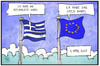 Cartoon: Fahnen am 1. April (small) by Kostas Koufogiorgos tagged karikatur,koufogiorgos,illustration,cartoon,fahne,flagge,griechenland,eu,europa,geld,reformliste,scherz,witz,aprilscherz,politik,versprechen,lüge