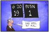 Cartoon: G20 gegen Putin (small) by Kostas Koufogiorgos tagged karikatur,koufogiorgos,illustration,cartoon,g20,gipfel,brisbane,australien,putin,spiel,spielstand,politik