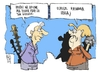 Cartoon: Lagarde and Merkel (small) by Kostas Koufogiorgos tagged eu,imf,greece,eurozone,deficit,eurocrisis,austerity,plan,financial,help,cartoon,koufogiorgos,skitso,teliki,lisi,voitheia