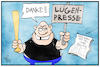 Cartoon: Lügenpresse (small) by Kostas Koufogiorgos tagged karikatur,koufogiorgos,illustration,cartoon,claas,relotius,lügenpresse,journalismus,populismus,presse,medien