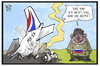 Cartoon: MH 17 (small) by Kostas Koufogiorgos tagged karikatur,koufogiorgos,illustration,cartoon,mh17,russland,baer,abschuss,antifa,verantwortung,ukraine,konflikt,buk,rakete