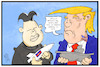 Cartoon: Nordkorea (small) by Kostas Koufogiorgos tagged karikatur,koufogiorgos,illustration,cartoon,kim,jong,un,trump,nordkorea,atombombe,rakete,kriegsschiff,krief,konflikt,verrückt,staatschef,usa,politik