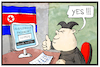 Cartoon: Passwort Covfefe (small) by Kostas Koufogiorgos tagged karikatur,koufogiorgos,illustration,cartoon,covfefe,kim,jong,un,nordkorea,nuklear,waffen,code,usa,twitter,passwort,computer,hacker