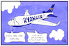 Cartoon: Ryanair (small) by Kostas Koufogiorgos tagged karikatur,koufogiorgos,illustration,cartoon,ryanair,autopilot,flugzeug,fluglinie,streik,wirtschaft,beruf,arbeit