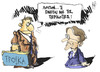 Cartoon: Troika is back (small) by Kostas Koufogiorgos tagged austerity,plan,stournaras,samaras,greece,troika,eurocrisis,depresssion,cartoon,koufogiorgos