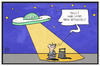 Cartoon: UFO-Streik bei Eurowings (small) by Kostas Koufogiorgos tagged karikatur,koufogiorgos,illustration,cartoon,ufo,streik,flugbegleiter,passagier,fluggast,fliegen,arbeitskampf,eurowings