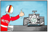 Cartoon: Vettel verlässt Ferrari (small) by Kostas Koufogiorgos tagged karikatur,koufogiorgos,illustration,cartoon,formel,sport,motorsport,rennsport,mercedes,fahrer,anhalter