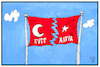 Cartoon: Zerrisene Türkei (small) by Kostas Koufogiorgos tagged karikatur,koufogiorgos,illustration,cartoon,tuerkei,fahne,flagge,zerissen,symbol,halbmond,referendum,evet,hayir,abstimmung,wahl