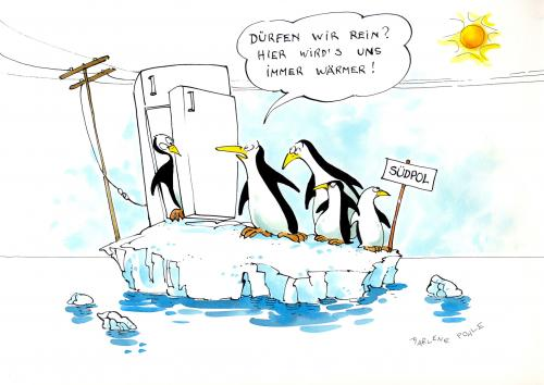 Cartoon: Erderwärmung auch für Pinguine (medium) by Marlene Pohle tagged erderwärmung