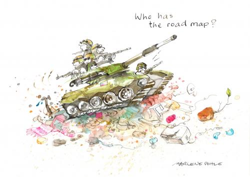 Cartoon: The road map (medium) by Marlene Pohle tagged war,at,the,caucasus