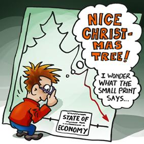 Cartoon: christmas tree weinacht baum (medium) by illustrator tagged christmas,tree,weinacht,baum,economy,wirtschaft,depression,cartoon,drawing,illustration,2008,mistake,reading,small,print,guy,economie,economics,crisis,downfall,drop