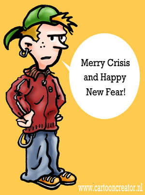 Cartoon: Merry Crisis (medium) by illustrator tagged merry,christmas,xmas,crisis,new,year,fear,peter,welleman,satire,cartoon,illustrator