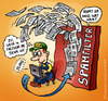Cartoon: spamfilter (small) by illustrator tagged spam,filter,mail,email,factuur,invoice,fire,wall