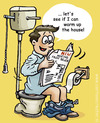 Cartoon: Warming up the house (small) by illustrator tagged heat,warm,wc,toilet,water,closet,read,paper,sewer,riool,flush,alternative,energy,energie,green,grun,new