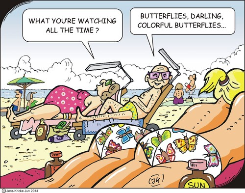 Cartoon: Butterflies (medium) by JotKa tagged butterflies,holiday,vacation,sun,beach,sea,swimming,girl,sunbathing,observations,color,life,recovery,suntan,oil,couple,marriage,deckchair,bikini,swimsuit,umbrella,sunscreen,lotion,towel,bath