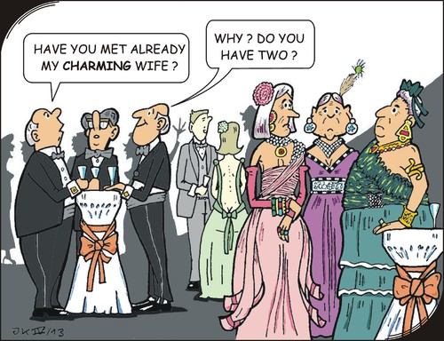 Cartoon: Charming (medium) by JotKa tagged charming,embarassing,boaster,opulence,old,youth,jewelry,faschion,society,gentlemen,ladies,manager,elites,opera,receptions,celebrations,party