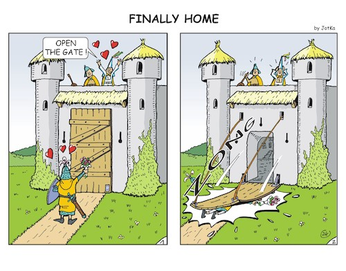 Cartoon: Finally home (medium) by JotKa tagged knights,castles,love,grief,relationships,pitch,he,husband,man,woman,medieval,knights,castles,love,grief,relationships,pitch,he,husband,man,woman,medieval