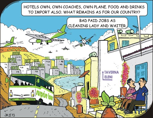 Cartoon: Mass tourism (medium) by JotKa tagged travelling,holidays,drinks,foods,transportation,airlines,poverty,weath,cause,social,countries,foreign,people,and,land,business,local,groups,tourism,touroperators,skimming,workplace
