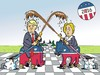 Cartoon: Wahlkampf - Electioneering (small) by JotKa tagged wahlkampf,wahlen,usa,kandidaten,republikaner,demokraten,clinton,trump,schlammschlacht,election,campaigns,candidates,republican,democrats