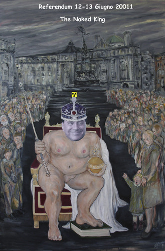 Cartoon: The Naked King (medium) by azamponi tagged berlusconi,nuclear,energy,water