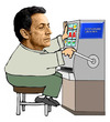 Cartoon: Sarkozy get pissed off! (small) by azamponi tagged sarkozy,france,economy,euro