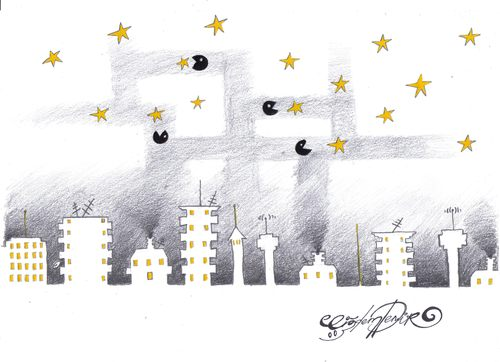 Cartoon: Air pollution swallows stars (medium) by CIGDEM DEMIR tagged star,sky,air,pollution,night,city,buildings,swallow