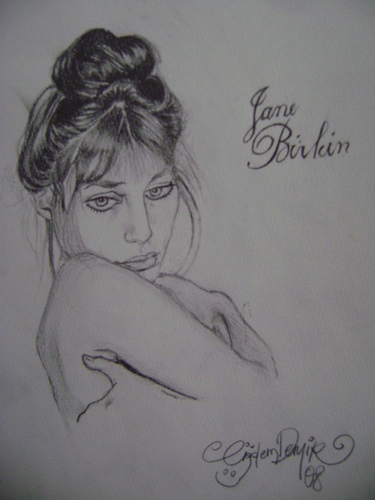 Cartoon: Jane Birkin (medium) by CIGDEM DEMIR tagged woman,jane,birkin,famous,people