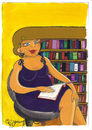 Cartoon: LIBRARY (small) by CIGDEM DEMIR tagged library,woman,women,book,literacy,rate,hair,beauty,reading,colorful