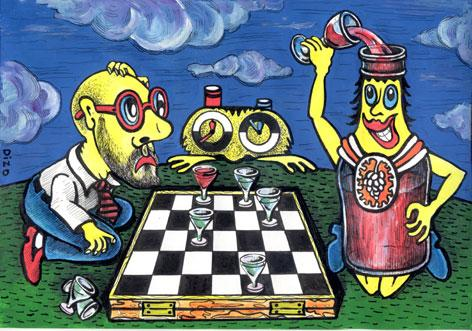 Cartoon: cartoon3 (medium) by ARSEN GEVORGYAN tagged cartoon3,,illustration,schach,wein,alkohol,flasche,strategie,trinken