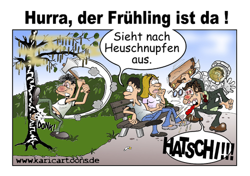 Cartoon: Hurra! Der Frühling ist da. (medium) by karicartoons tagged pollenallergie,pollen,frühling,cartoon,blütenpollen,birke,allergiker,allergie