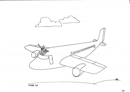 Cartoon: Bewaffneter Flugbegleiter (medium) by Frank Hoffmann tagged no,tag,
