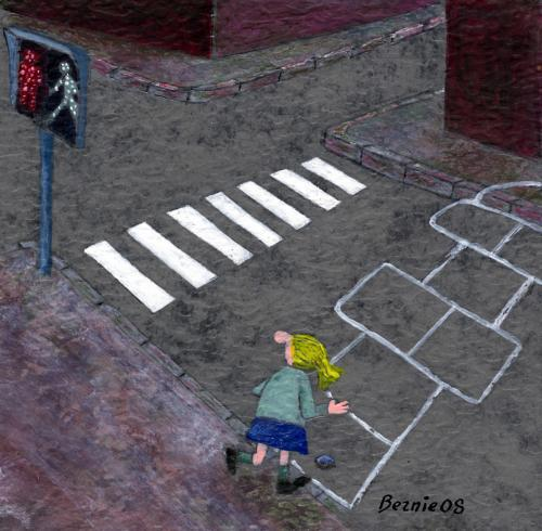 Cartoon: crossing for kids (medium) by bernie tagged kids,town,traffic,
