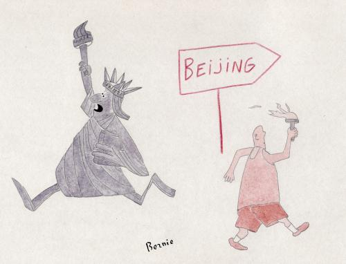 Cartoon: Olympic Games Beijing (medium) by bernie tagged tibet,china,humanrights,olympic,games,