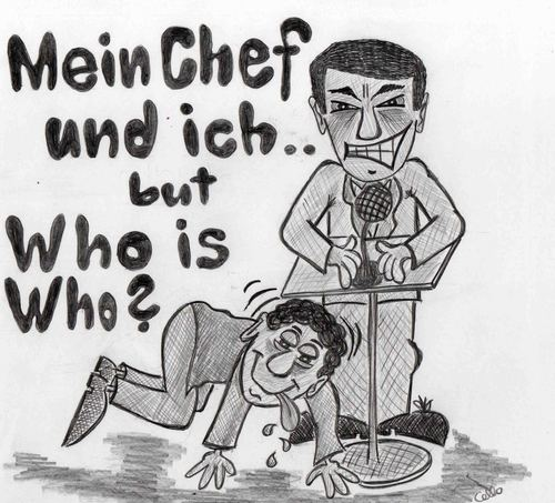 Cartoon: Chef? (medium) by Marcello tagged hierarchie,vorgesetzter,boss,chef