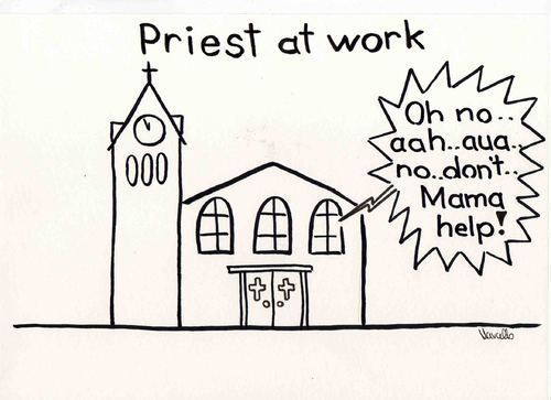 Cartoon: Priest at work (medium) by Marcello tagged priest,church