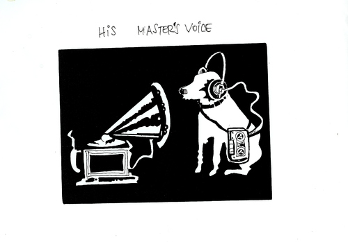 Cartoon: His Masters voice (medium) by Dluho tagged edu