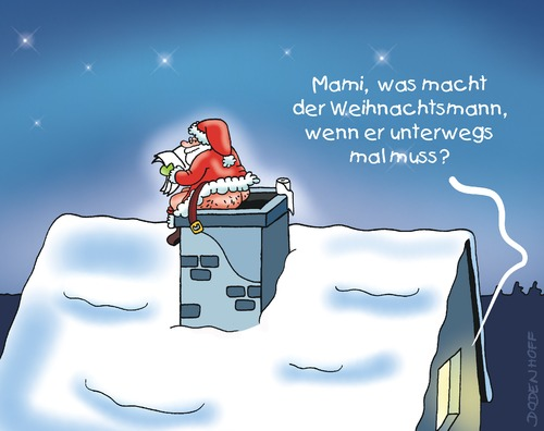 Cartoon: Stilles Örtchen (medium) by Dodenhoff Cartoons tagged kinder,schornstein,kamin,nacht,weihnachtsmann,weihnachten,verdauung,wc