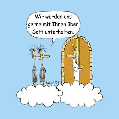 Cartoon: Reden über Gott (medium) by lexaart tagged gott,zeugen,jehovas,himmelspforte,religion,glauben