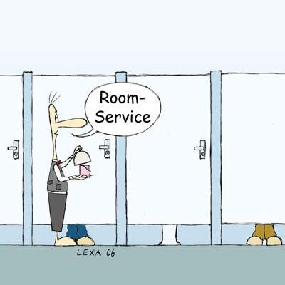 Cartoon: Roomservice (medium) by lexaart tagged wc,toilette,papier,buttler,service